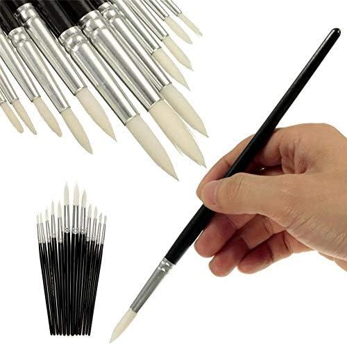 絵筆 ペイントブラシ異なるサイズ黒ショートロッド・ホワイトナイロンヘアオイルは、ブラシ水彩アクリルアーティストがセットペイント絵