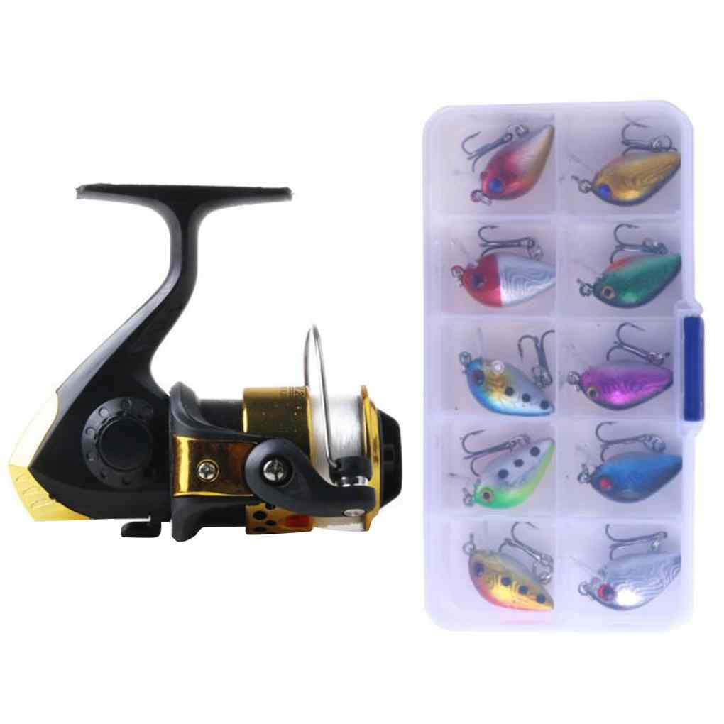 EgalBest Portable Lightweight Spinning Anglers Fishing Reel Metal Spool Mini Angling Lures Baits Set