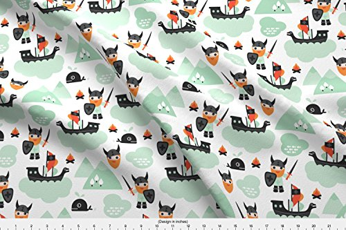 Boys Fabric Cute Kids Historical Hero Theme Viking Battle Ship Whale And Scandinavian Woodland In Mint And by Littlesmilemakers Printed on Cotton Spandex Jersey Fabric by the Yard by Spoonflower