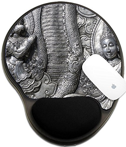 Luxlady Mousepad wrist protected Mouse Pads/Mat with wrist support design IMAGE ID: 37619373 A horizontal photographic image of an ancient metal wall sculpture from Wat Srisuphan Temple (Food Photographic Memory)