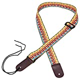 Mugig Ukulele Strap, Cotton Adjustable Strap with Leather Ends for Ukulele