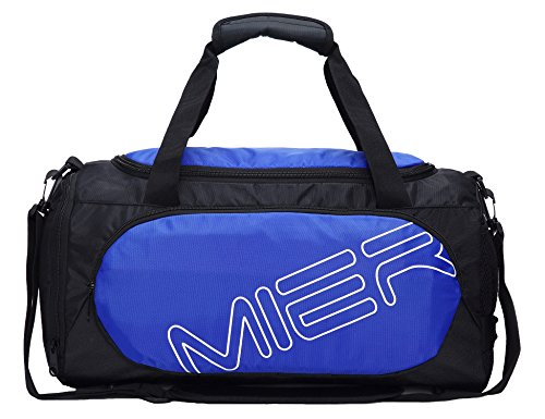 MIER Small Gym Sports Bag for Men and Women with Shoes Compartment, 18inch(blue)