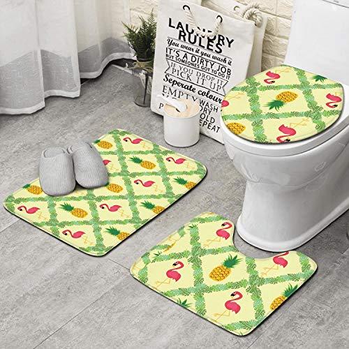 ZHIDAONNU Flamingo Pineapple Palm Tree Memory Foam Bath Mat, Ultra Soft Non Slip and Absorbent Bathroom Rug Set of 3 - Small/Large/Contour