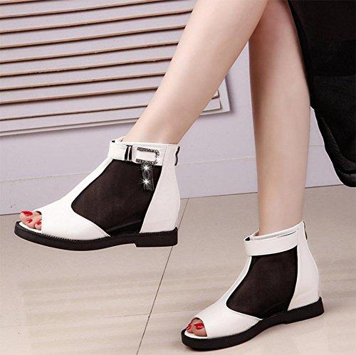 Aumento de la boca de pez sandalias sandalias romanas y zapatillas de verano del rhinestone de los zapatos de las mujeres de malla plana White