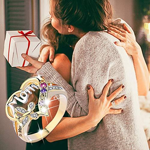 Ymibull Mother\'s Day Love Heart Ring Mother\'s Day Ring Bridal Zircon Diamond Elegant Engagement Wedding Band Gift (Golden, 7)