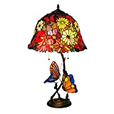 CCSUN Large Tiffany Style Table lamp - Butterfly Flower Indoor Table Light fixtures H:27.2inch Coloring Jewel Creative Decoration Lighting-red 60W
