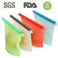 Sendowtek Bolsa de Silicona Reutilizable, Bolsa de Almacenamiento para Alimentos Conjunto de 4, Preservación de Alimento Hermético para Fruta Sopa De Verduras Leche Carne