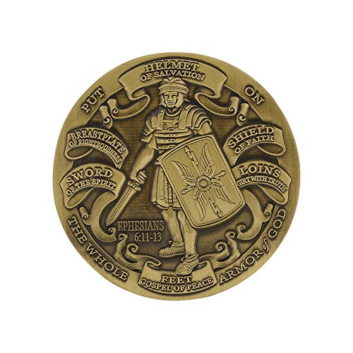 Forge Antique Finished Armor of God High Relief Challenge Coin (1 Antique Brass Coin)