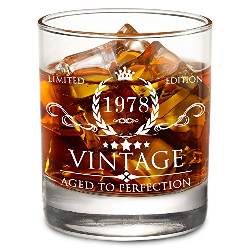 1978 40th Birthday Gift for Men and Women Lowball Whiskey Glass - Vintage Funny Anniversary Gift Ideas for Mom, Dad, Husband, Wife - 11oz Bourbon Scotch Glass - Party Favors, Decorations for Him/Her -