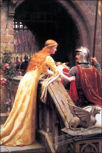 42x63 Poster; God Speed! By Edmund Blair Leighton, 1900 A Late Victorian View Of A Lady Giving A Favour To A Knight About To Do Battle
