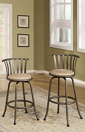 Set of 2 slatted back adjustable height swivel bar / counter height stools with padded seat