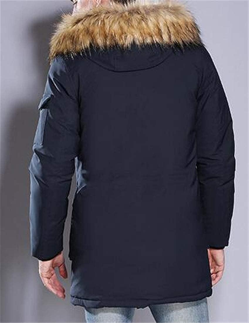 Pivaconis Mens Slim Fit Faux Fur Collar Hoodie Quilted Parkas Down Coat