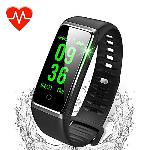 ker, Color Screen Activity Tracker with Heart Rate Monitor Watch, IP67 Waterproof Fitness Watch with Female Physiological Reminder Sleep Blood Pressure Monitor for Kids Women Men ()