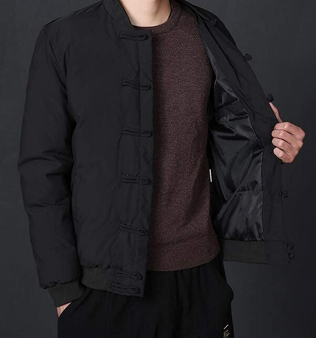 YYG Mens Pure Color Thermal Chinese Style Winter Plus Size Down Coat Jacket Outerwear