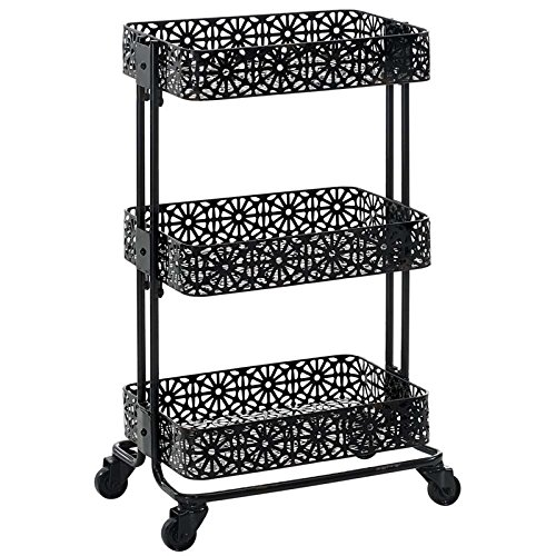 Linon Metal Cart In Black Finish AMME3TIERG1 by Linon