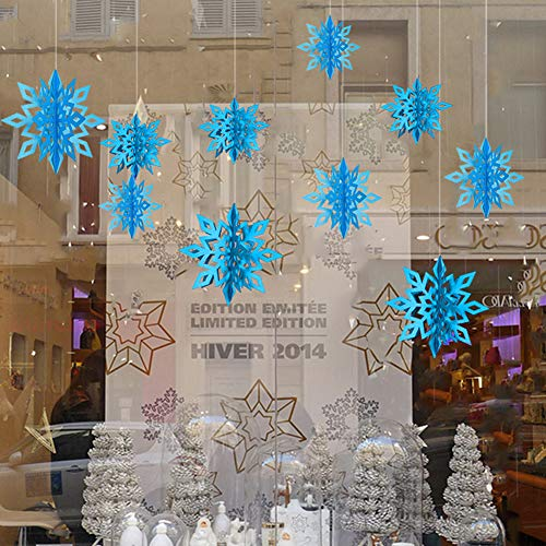 Leoie 3D Hollow Cardboard Snowflake Hanging Ornaments for New Year Christmas Home Art Party Decoration 6pcs/Set Light Blue