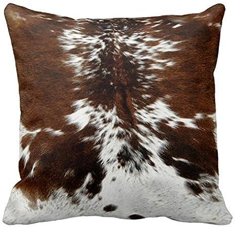 Fedso - Funda para sofá, diseño de piel de vaca, color marrón y blanco con cremallera, 45,7 x 45,7 cm