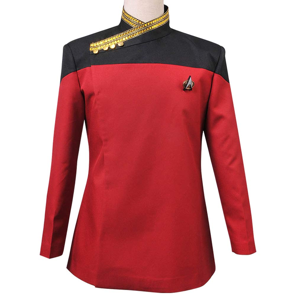 Star Trek Voyager Command Costume Red Uniform Jacket Coat Purple Shirt Badge