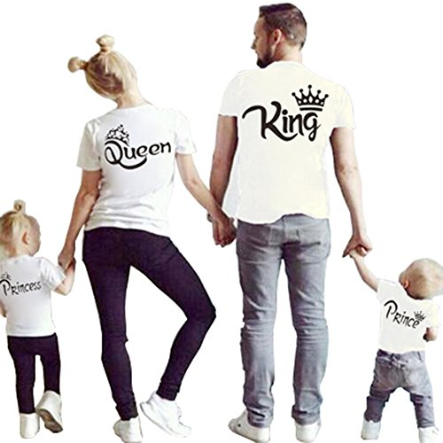 D-Sun Family Clothes Matching - King Queen Crown Short Sleeve Cotton T-Shirt Printed Funny Tops (US M = Asia XL, White Queen)