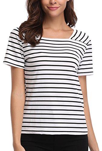 Miss Moly Damen Kurzarm Gestreiftes T-Shirt Sommer Top Oberteil  Schwarz Weiß FyEulc3Y f051001b60