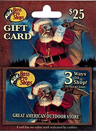 bass pro shop gift card balance amazon com bass pro shops holiday 25 gift card gift cards 5667