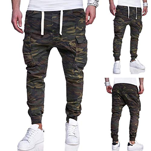 Pervobs Mens Pant, Clearance! Fashion Men's Casual Sport Camouflage Lashing Belts Loose Drawstring Pant Trousers (4XL, Army Green)