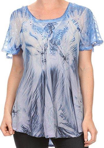 - Sakkas 16480 - Taylay Ombre Tie Dye Batik Long Embroidered Corset Neck Blouse Shirt Top - Indigo - OS