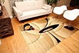 Feraghan/New City New City Brand New Contemporary Modern Wavy Circles Area Rug, 8' x 10', Brown/Beige