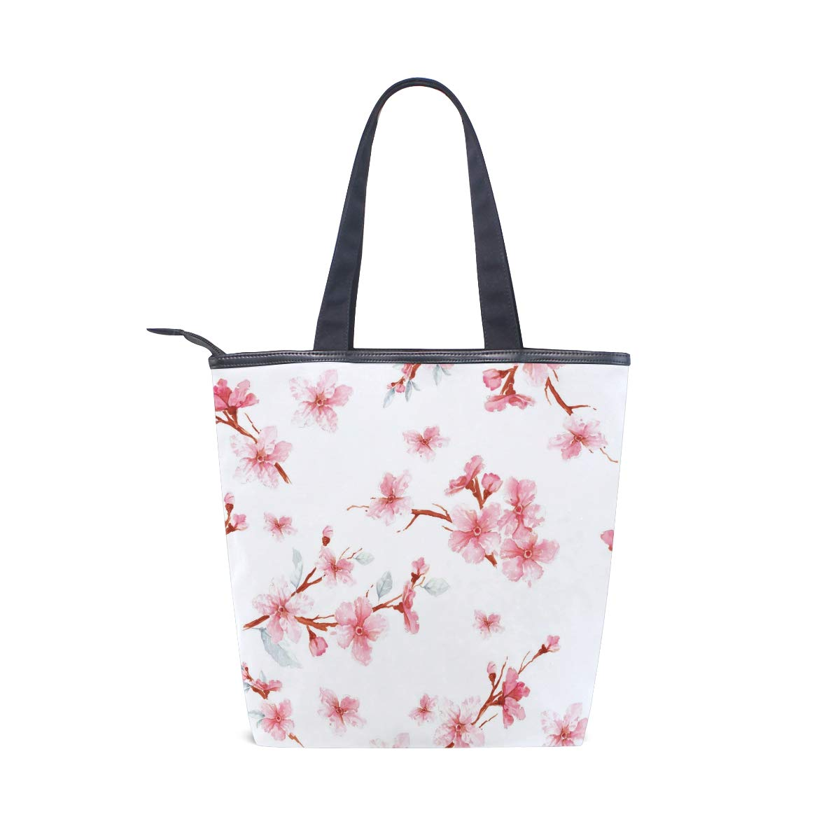 SHANGLONG Fashion Peach Blossom Printed Canvas Tote Bags Women Casual Large Capacity Bags Daily Use