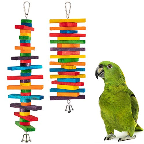 MEWTOGO 2Pcs Bird Parrot Chewing Sticks Toys- Multicolored Natural Wooden Blocks Suggested for Conures, Parakeets, Cockatiels, Lovebirds, African Grey and a Variety of Amazon Parrots