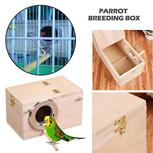 Wendysy Parakeet Nest Box Budgie Nesting House Bird Nest Cage Incubator Solid Wooden Budgerigar Parrot Nesting Breeding Box Cockatiel Breeding Nesting Bird Aviary Cage Box