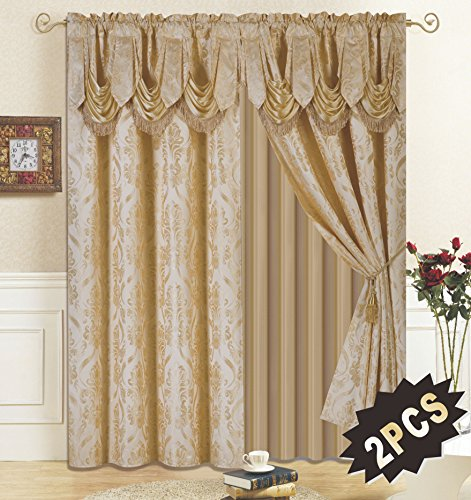 All American Collection New 4 Piece Drape Set with Attached Valance and Sheer with 2 Tie Backs Included (Gold) (Living Drapes Room Valances And)