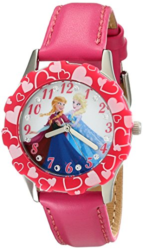 Disney Kids' W001987 Elsa and Anna Stainless Steel Watch with Pink Band