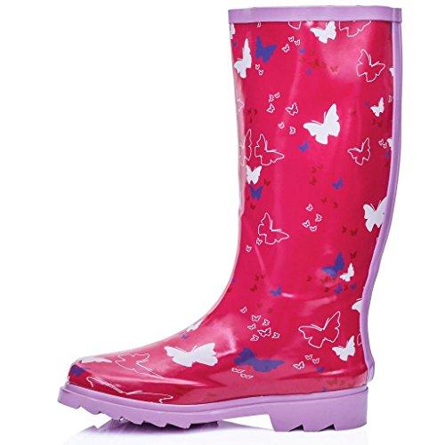 Botas SPYLOVEBUY KARLIE Botas Altas Plano Schmetterling Rosa Goma Agua de 7qOW5w4q