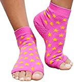 Toezies The Original 1/2 Toe Socks for Yoga/Pilates Pink Star (Medium / Large) For Sale