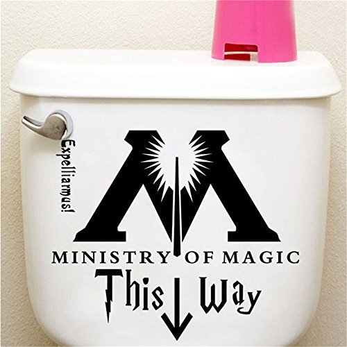 YttBuy Harry Potter Decal Sticker This Way to The Ministry of Magic Toilet Vinyl Carving Decal Sticker for Toilet Decoration