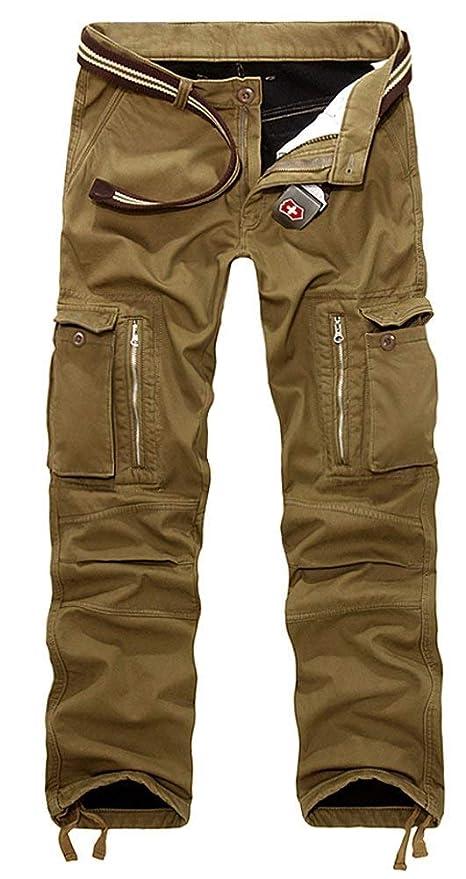 Pantalones de forro polar AIZESI, para hombre, para el invierno, Hombre, caqui