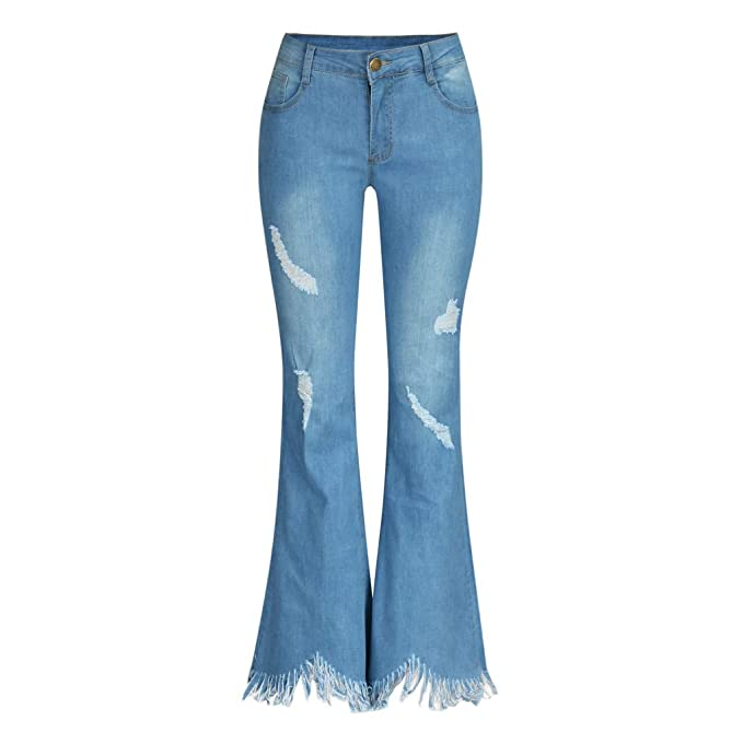 LiLiMeng 2019 New Women High Waist Hole Jeans Button Tassel Pants Trousers Bell-Bottom Pants Flare Pants Raw Material Hem