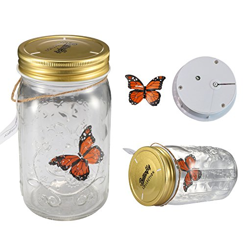 4b8415ced1721 Fangfang LED Lamp Romantic Glass Animated Butterfly Jar Gift Decoration  (Orange)