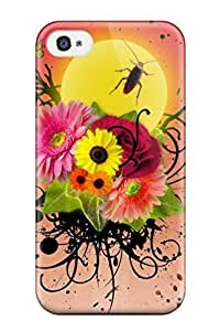 8861172K57356565 For Iphone Case, High Quality Flowers And Insects For Iphone 5c Cover Cases