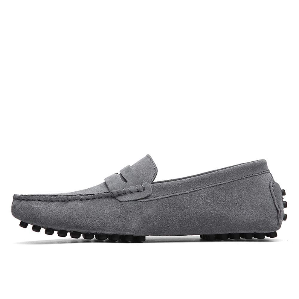 Qiusa Mode-Leder-Müßiggänger für bequemen Männer, die Beleg auf bequemen für klassischen großen Stiefelschuhen Fahren (Farbe : Grau, Größe : EU 45) - 09353f