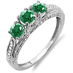14k White Gold Round White Diamond And Emerald Ladies Vintage Bridal 3 Stone Engagement Ring