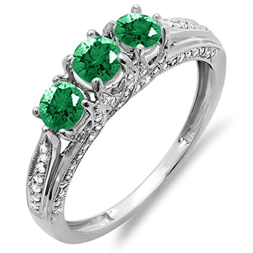 14k White Gold Round White Diamond And Emerald Ladies Vintage Bridal 3 Stone Engagement Ring (Size 5.5)