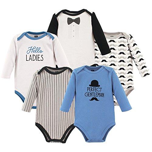 Hudson Baby Baby Long Sleeve Bodysuit 5 Pack, Perfect Gentleman, 6-9 Months Long Sleeve Baby Onesies