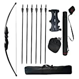 Tongtu 30lbs Archery Straight Bow Set Hunting Wooden Adult Youth Takedown Set Include Fiberglass Arrows Finger Tab Arm Guard Quiver Bow Case for Games Target Longbow Sports