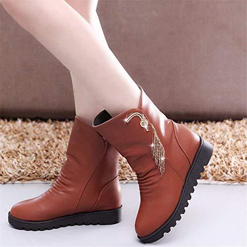 38 Botas de con Zapatos Mujer DEED Eu Planas y Mangas cálidas qAz0wn