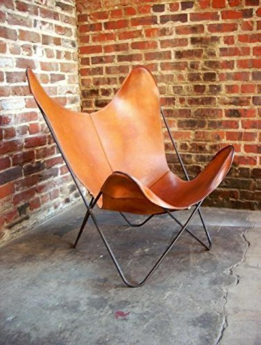 BROWN TAN LEATHER ARM CHAIR STAR BUTTERFLY LEATHER BUTTERFLY CHAIR HOME DECOR - ONLY COVER