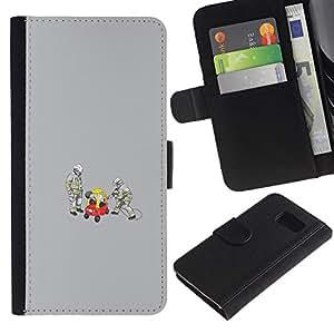 KLONGSHOP // Tirón de la caja Cartera de cuero con ranuras para tarjetas - Bomberos trabajan - Samsung Galaxy S6 //