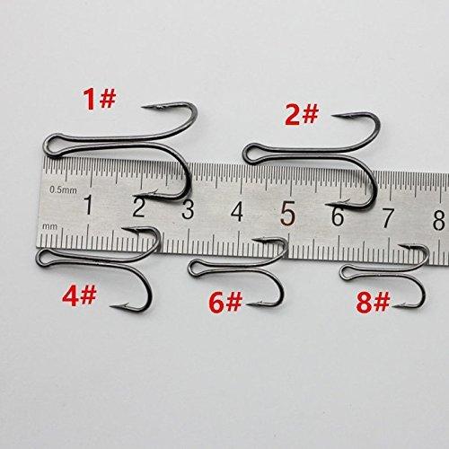 1/# Dual Negro de acero de alto carbono anzuelos de pesca doble ancla Gancho aparejos de pesca de agua salada lvedu 50pcs//lot 8/#