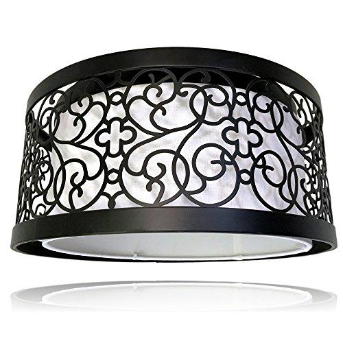 3 Light Flush Ceiling Light | Dark Bronze Finish, White Linen Interior Shade | Decorative Curvy Ceiling Light Fixture